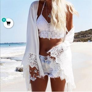 Lush White Lace Kimono Coverup Small